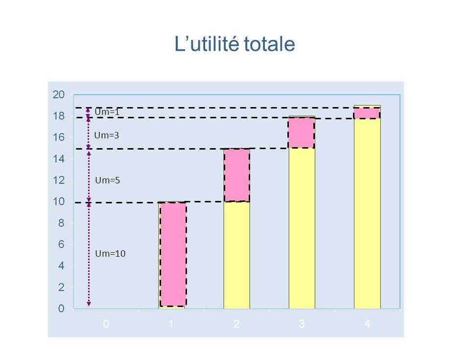 Lutilité marginale Lutilité marginale du bien (hamburger) diminue à mesure que la quantité consommée de ce bien augmente.