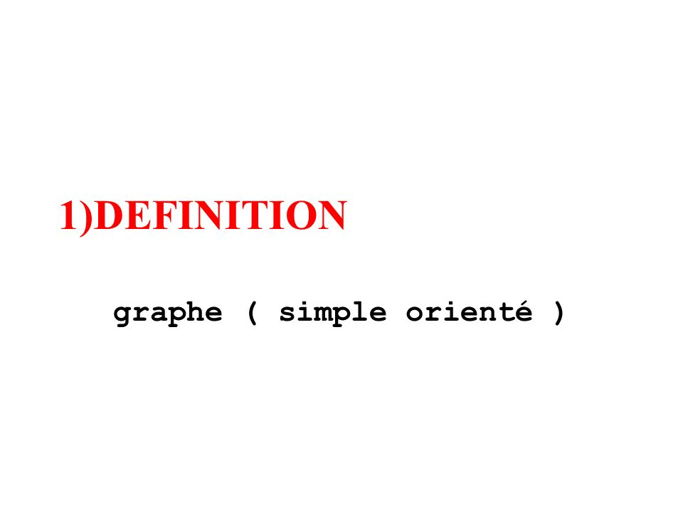 1)DEFINITION graphe ( simple orienté )