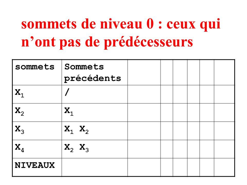 sommets de niveau 0 : ceux qui nont pas de prédécesseurs sommetsSommets précédents X1X1 / X2X2 X1X1 X3X3 X 1 X 2 X4X4 X 2 X 3 NIVEAUX