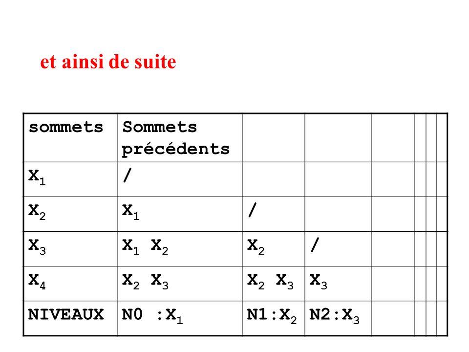 et ainsi de suite sommetsSommets précédents X1X1 / X2X2 X1X1 / X3X3 X 1 X 2 X2X2 / X4X4 X 2 X 3 X3X3 NIVEAUXN0 :X 1 N1:X 2 N2:X 3