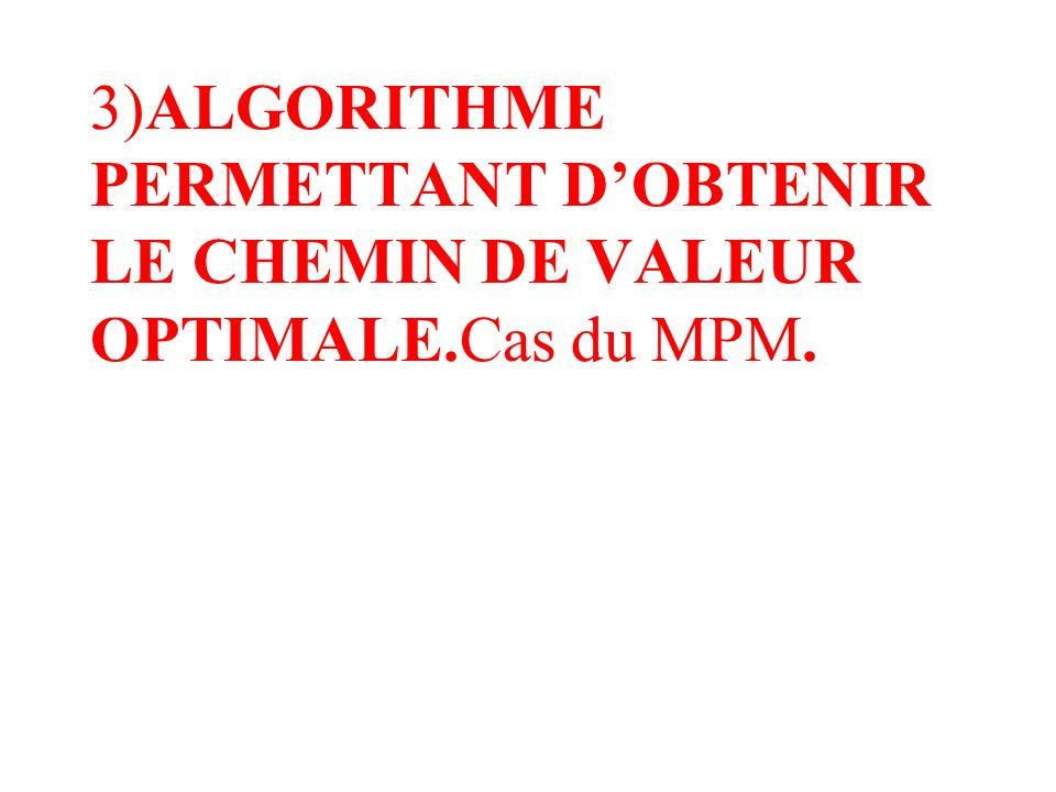 3)ALGORITHME PERMETTANT DOBTENIR LE CHEMIN DE VALEUR OPTIMALE.Cas du MPM.