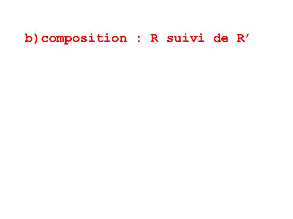 b)composition : R suivi de R