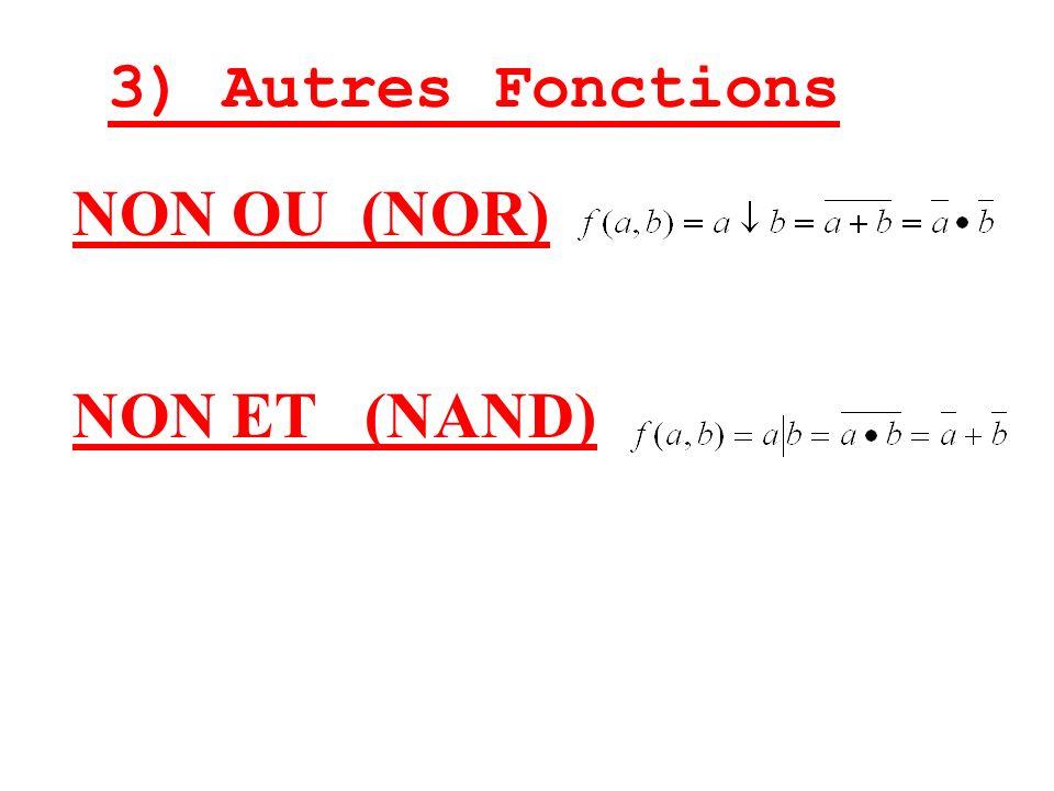 3) Autres Fonctions NON ET (NAND) NON OU (NOR)