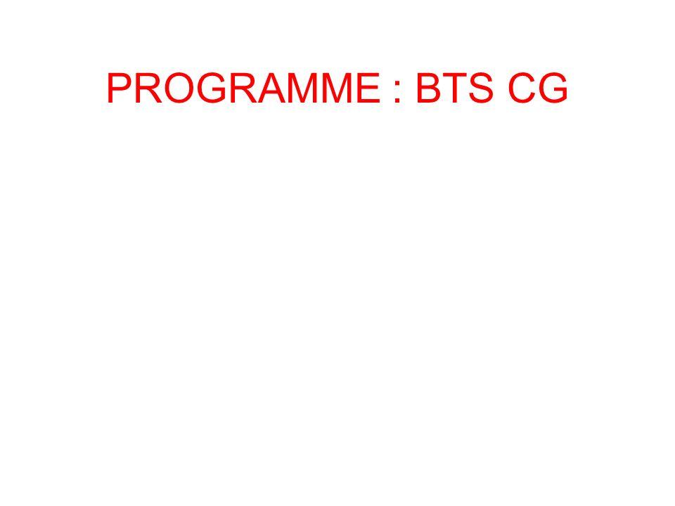PROGRAMME : BTS CG