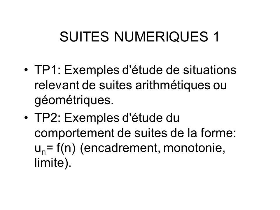 SUITES NUMERIQUES 1 TP1: Exemples d'étude de situations relevant de suites arithmétiques ou géométriques. TP2: Exemples d'étude du comportement de sui