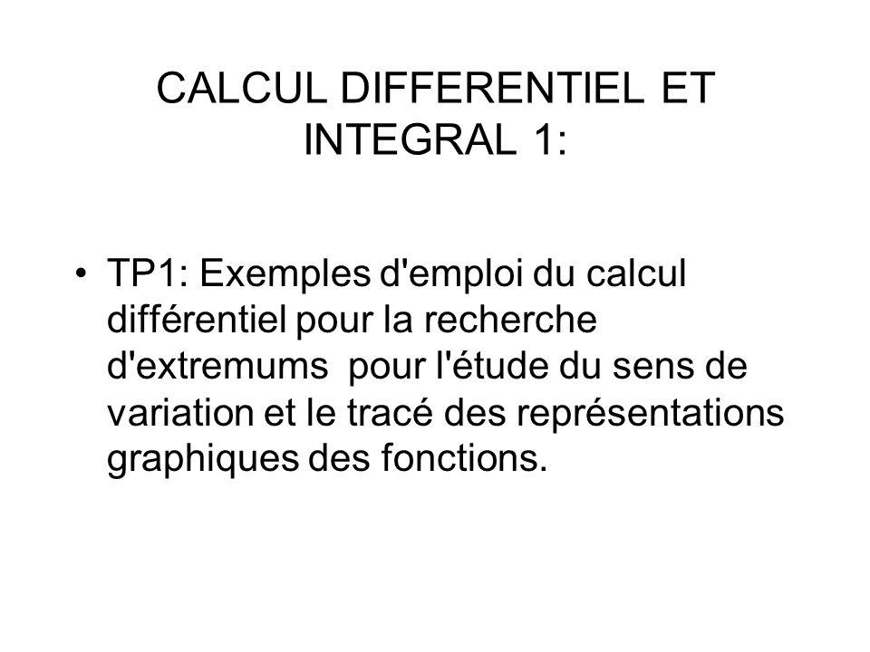 TP1: Exemples d emploi du calcul différentiel pour la recherche d extremums pour l étude du sens de variation et le tracé des représentations graphiques des fonctions.