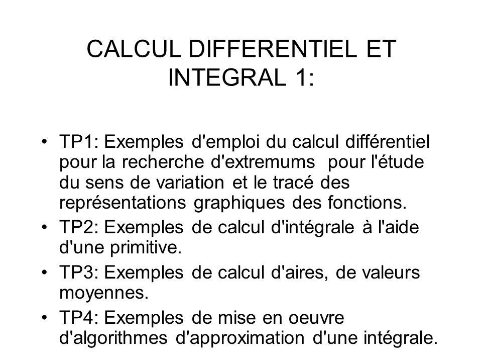 CALCUL DIFFERENTIEL ET INTEGRAL 1: TP1: Exemples d'emploi du calcul différentiel pour la recherche d'extremums pour l'étude du sens de variation et le