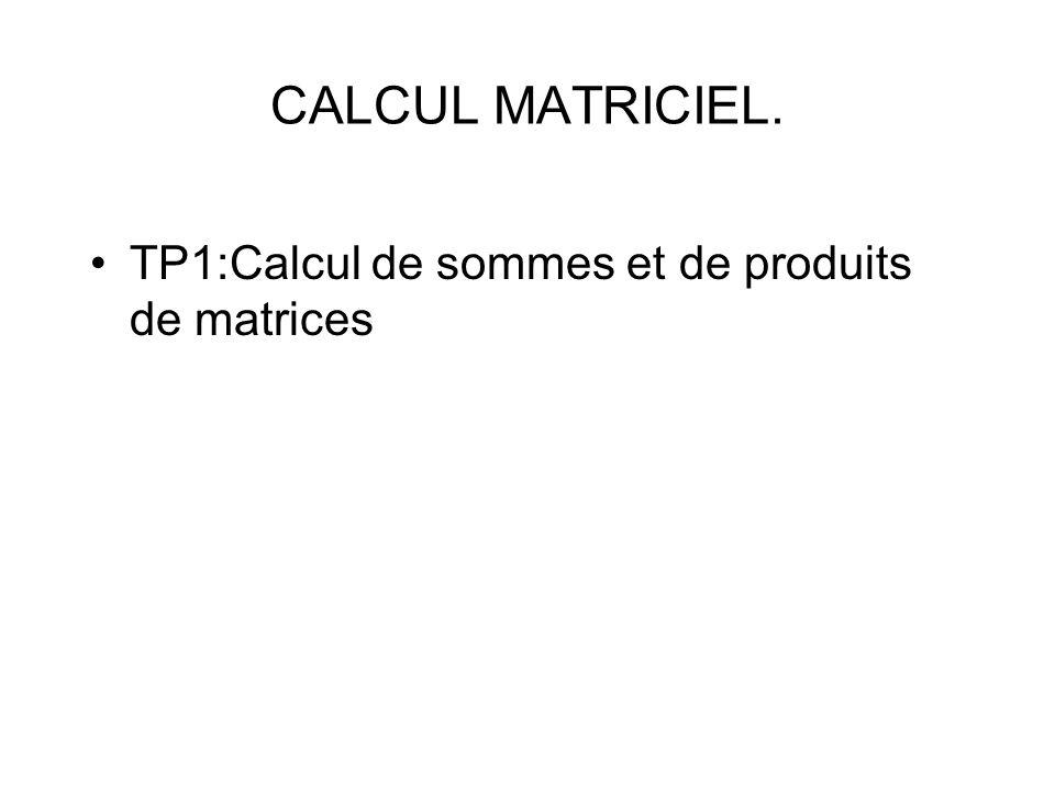 TP1:Calcul de sommes et de produits de matrices