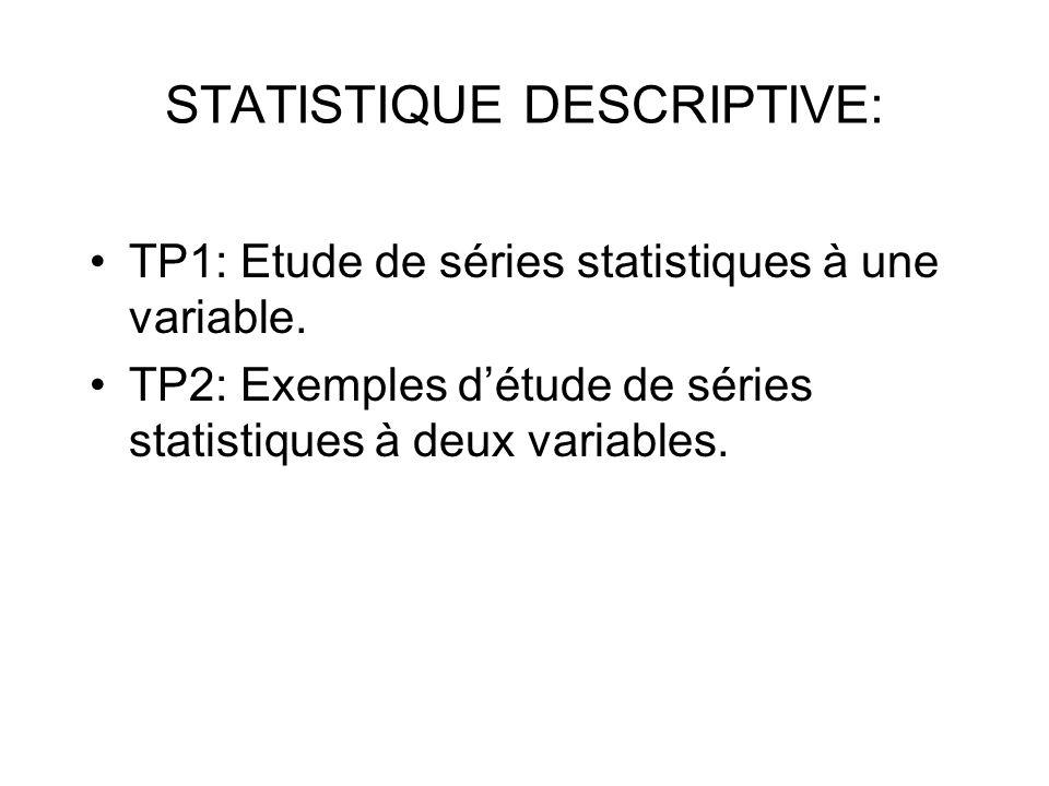 STATISTIQUE DESCRIPTIVE: TP1: Etude de séries statistiques à une variable.