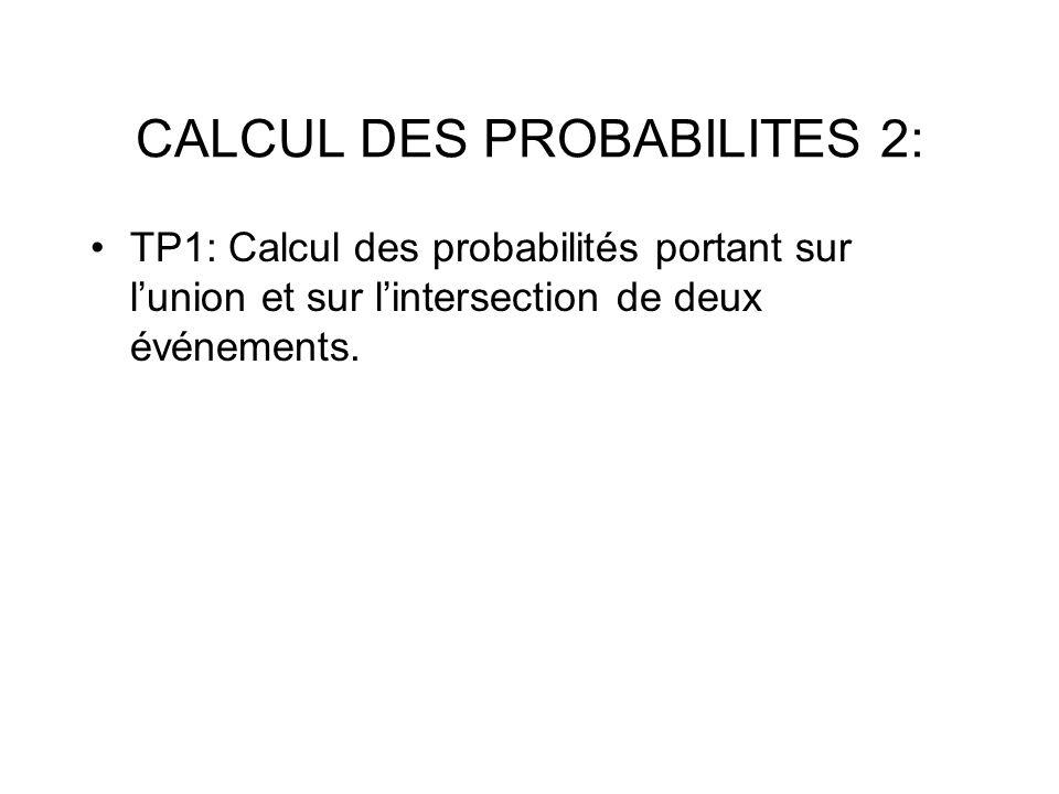 TP1: Calcul des probabilités portant sur lunion et sur lintersection de deux événements.