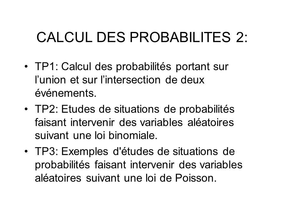 CALCUL DES PROBABILITES 2: TP1: Calcul des probabilités portant sur lunion et sur lintersection de deux événements. TP2: Etudes de situations de proba
