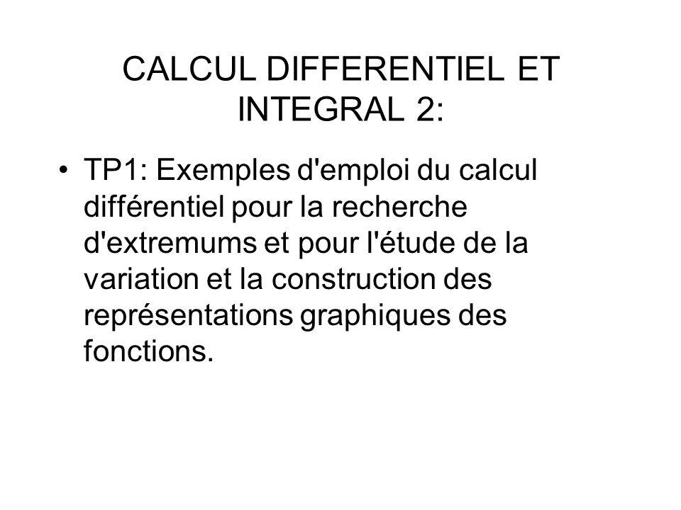 TP1: Exemples d'emploi du calcul différentiel pour la recherche d'extremums et pour l'étude de la variation et la construction des représentations gra