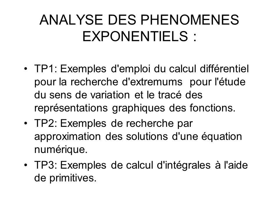 ANALYSE DES PHENOMENES EXPONENTIELS : TP1: Exemples d emploi du calcul différentiel pour la recherche d extremums pour l étude du sens de variation et le tracé des représentations graphiques des fonctions.