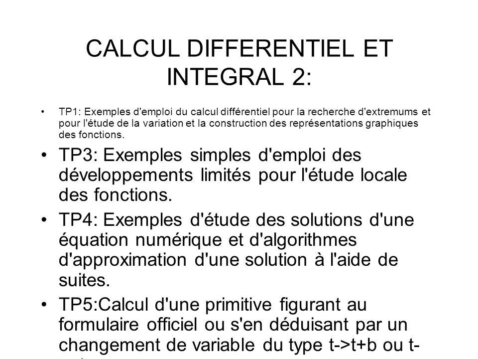 CALCUL DIFFERENTIEL ET INTEGRAL 2: TP1: Exemples d'emploi du calcul différentiel pour la recherche d'extremums et pour l'étude de la variation et la c