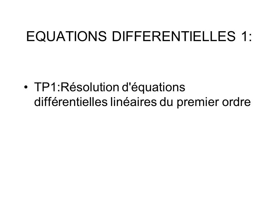 TP1:Résolution d'équations différentielles linéaires du premier ordre