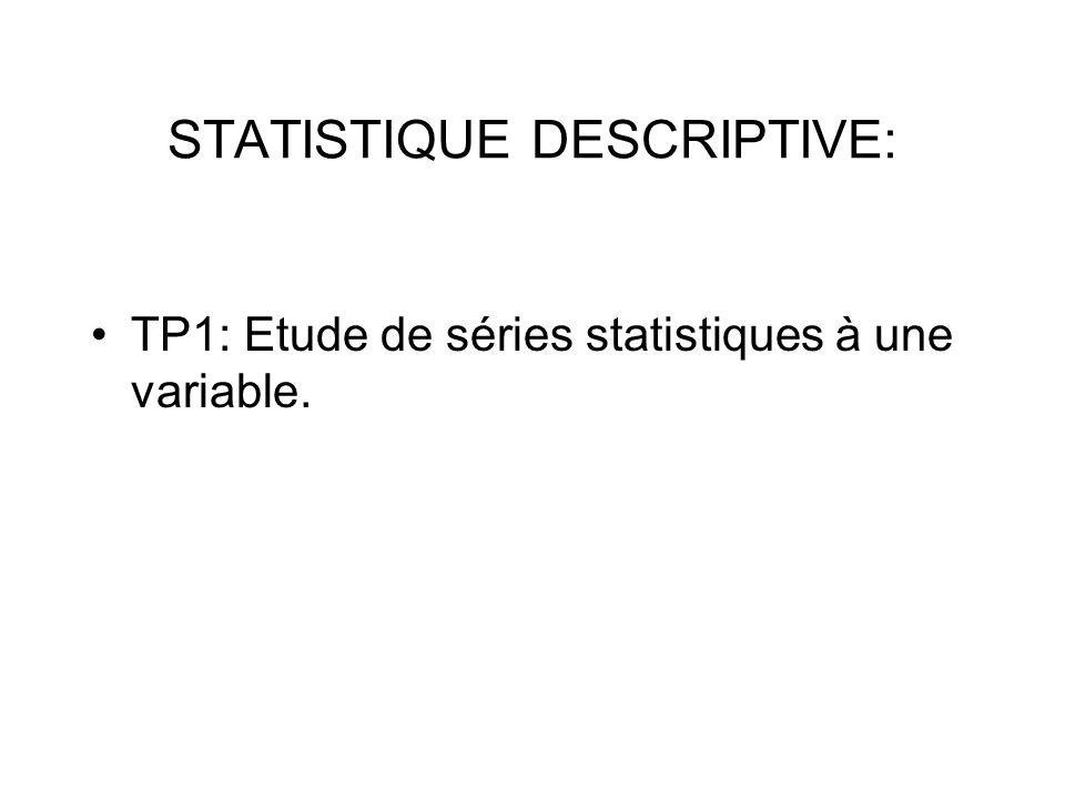 TP1: Etude de séries statistiques à une variable.