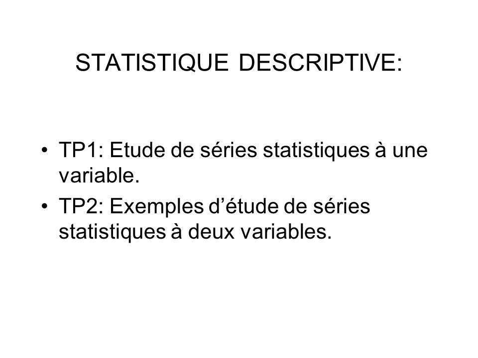 STATISTIQUE DESCRIPTIVE: TP1: Etude de séries statistiques à une variable. TP2: Exemples détude de séries statistiques à deux variables.