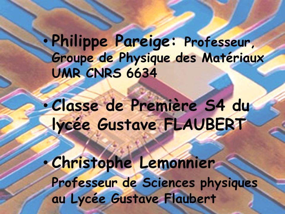 Philippe Pareige: Professeur, Groupe de Physique des Matériaux UMR CNRS 6634 Classe de Première S4 du lycée Gustave FLAUBERT Christophe Lemonnier Prof