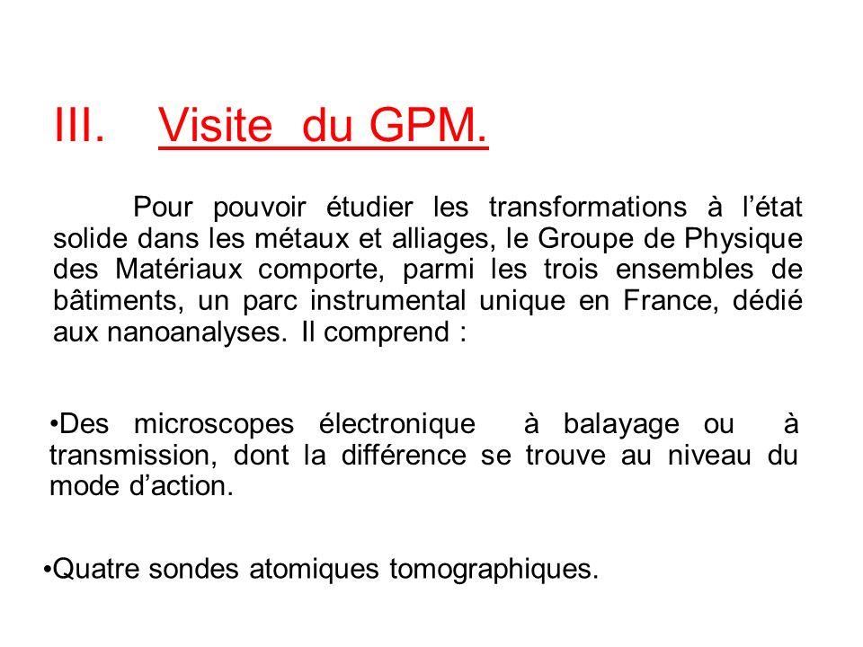 III.Visite du GPM. Pour pouvoir étudier les transformations à létat solide dans les métaux et alliages, le Groupe de Physique des Matériaux comporte,