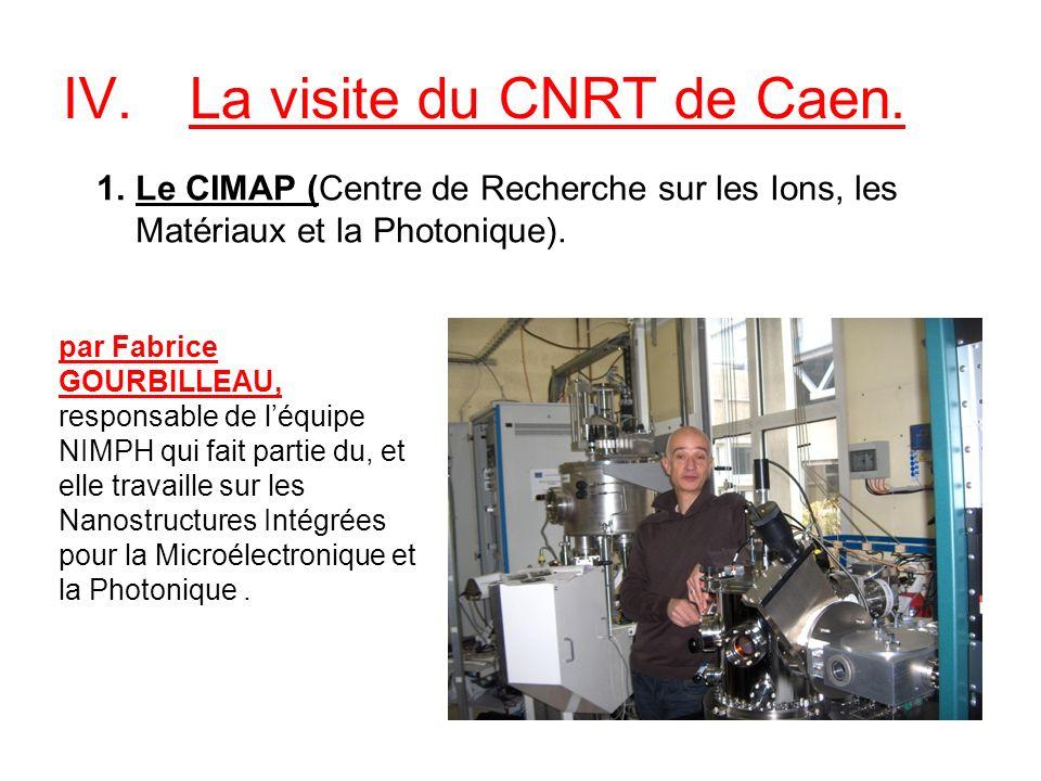 IV.La visite du CNRT de Caen. 1.Le CIMAP (Centre de Recherche sur les Ions, les Matériaux et la Photonique). par Fabrice GOURBILLEAU, responsable de l