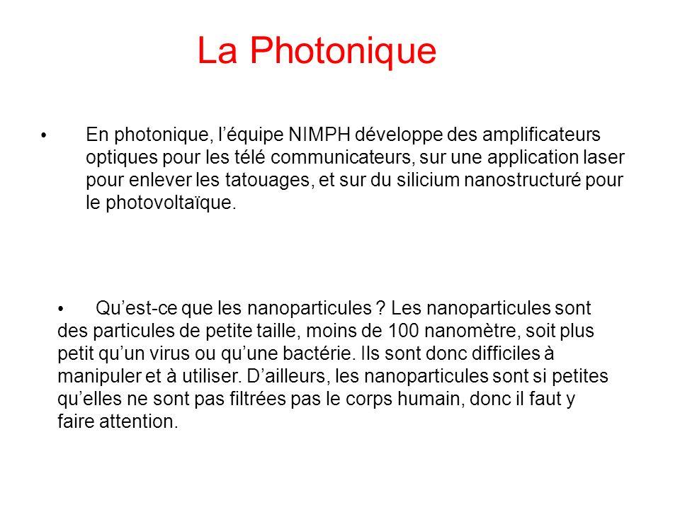 La Photonique En photonique, léquipe NIMPH développe des amplificateurs optiques pour les télé communicateurs, sur une application laser pour enlever