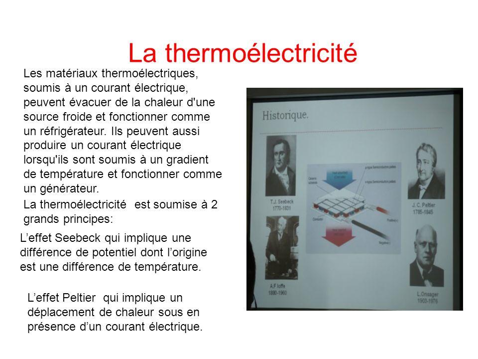 Leffet Peltier qui implique un déplacement de chaleur sous en présence dun courant électrique. soumise à deux grands principes: La thermoélectricité L