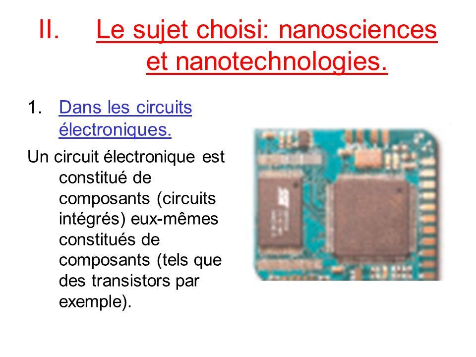 II.Le sujet choisi: nanosciences et nanotechnologies. 1.Dans les circuits électroniques. Un circuit électronique est constitué de composants (circuits
