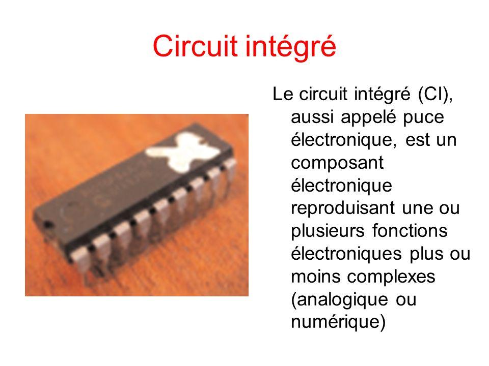 Circuit intégré Le circuit intégré (CI), aussi appelé puce électronique, est un composant électronique reproduisant une ou plusieurs fonctions électro