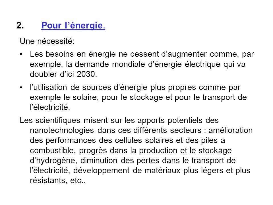 2.Pour lénergie. Une nécessité: Les besoins en énergie ne cessent daugmenter comme, par exemple, la demande mondiale dénergie électrique qui va double