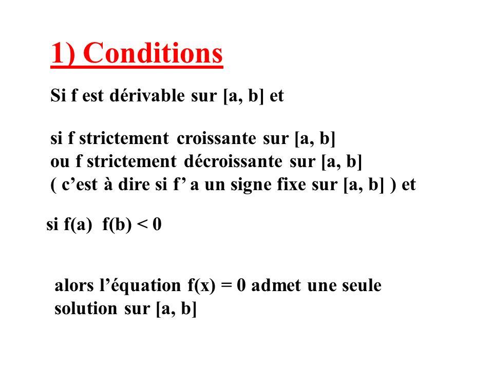 2) Méthode de Lagrange ou interpolation linéaire On remplace la solution r par labscisse c du point C (intersection du segment [AB] avec laxe 0x )