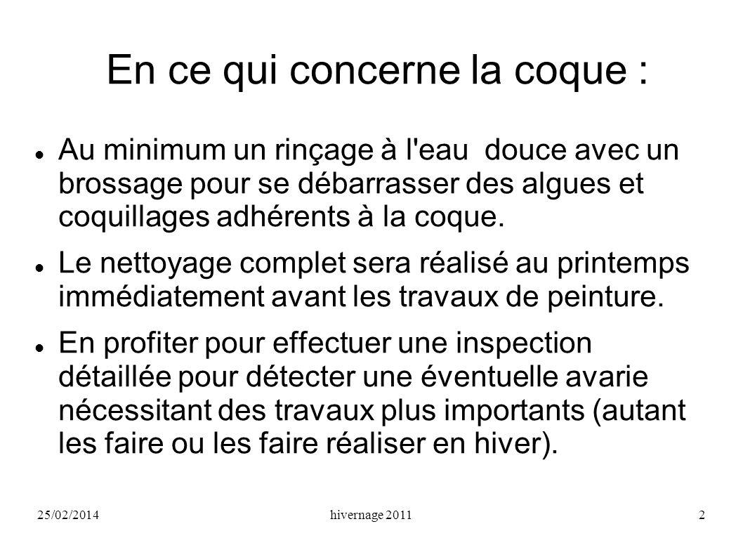 25/02/2014hivernage 20112 En ce qui concerne la coque : Au minimum un rinçage à l'eau douce avec un brossage pour se débarrasser des algues et coquill