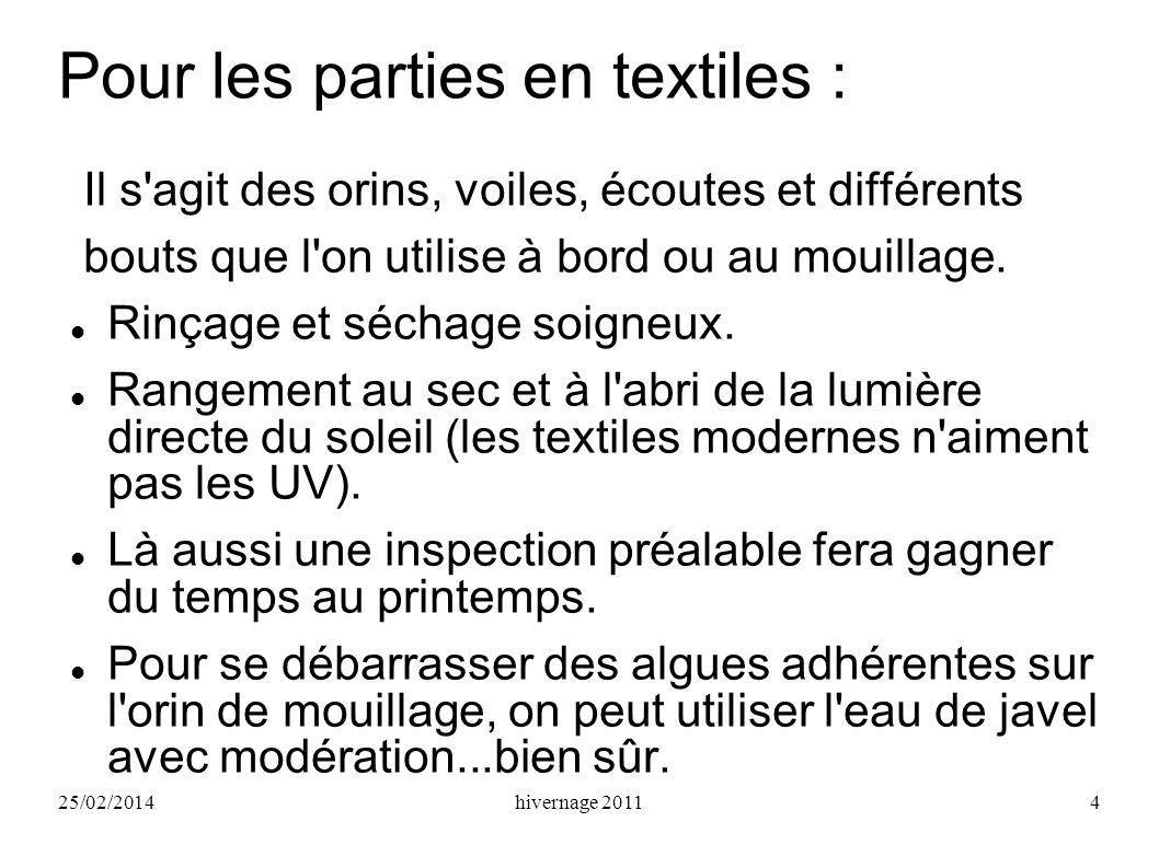 25/02/2014hivernage 20114 Pour les parties en textiles : Il s'agit des orins, voiles, écoutes et différents bouts que l'on utilise à bord ou au mouill