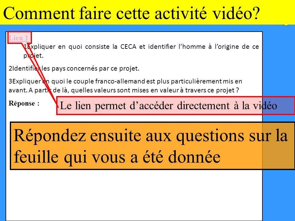 Comment faire cette activité vidéo.