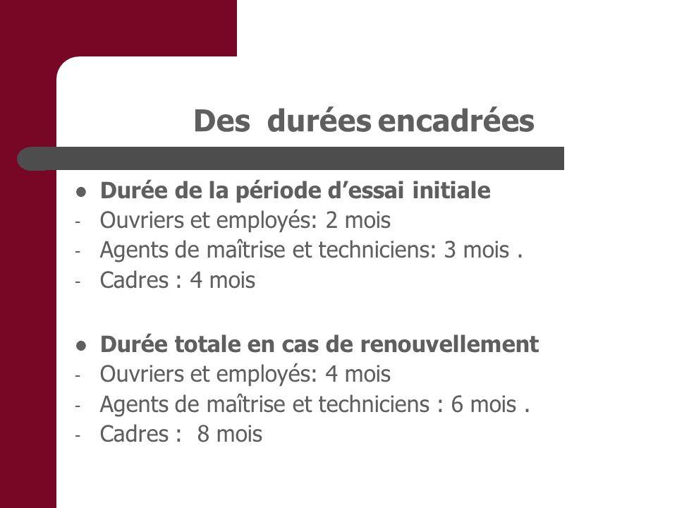 Des durées encadrées Durée de la période dessai initiale - Ouvriers et employés: 2 mois - Agents de maîtrise et techniciens: 3 mois. - Cadres : 4 mois