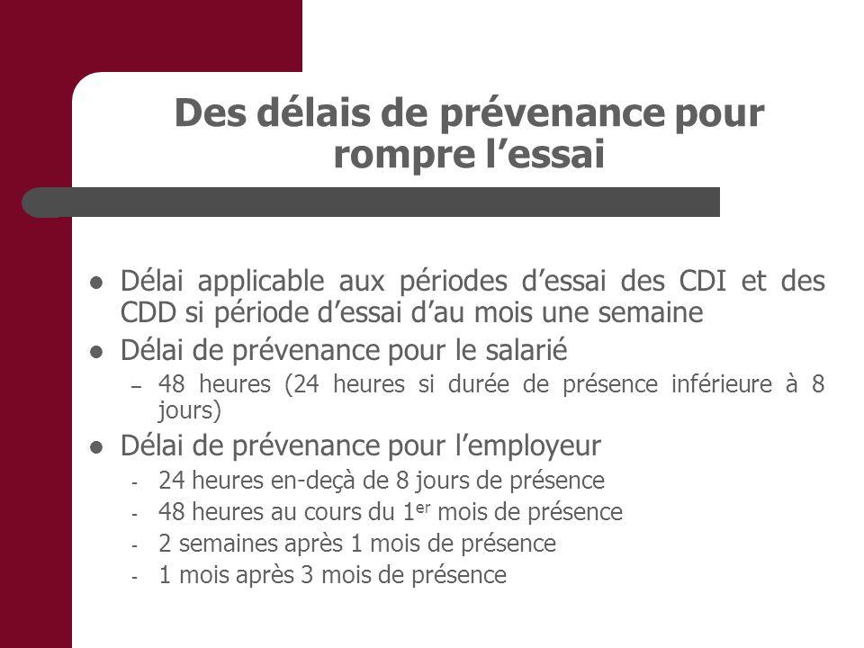 Des délais de prévenance pour rompre lessai Délai applicable aux périodes dessai des CDI et des CDD si période dessai dau mois une semaine Délai de pr