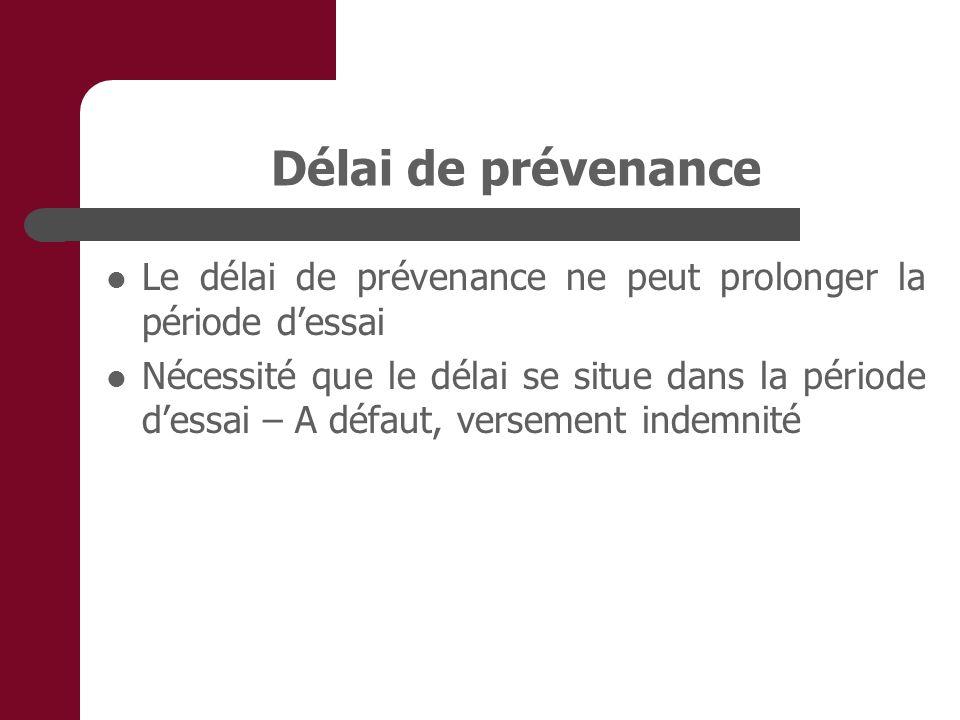 Délai de prévenance Le délai de prévenance ne peut prolonger la période dessai Nécessité que le délai se situe dans la période dessai – A défaut, versement indemnité
