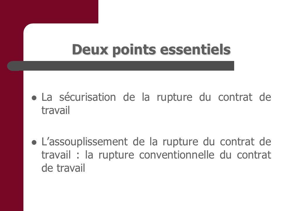Deux points essentiels La sécurisation de la rupture du contrat de travail Lassouplissement de la rupture du contrat de travail : la rupture conventionnelle du contrat de travail