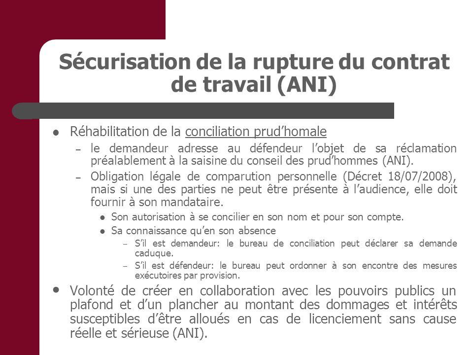 Sécurisation de la rupture du contrat de travail (ANI) Réhabilitation de la conciliation prudhomale – le demandeur adresse au défendeur lobjet de sa r