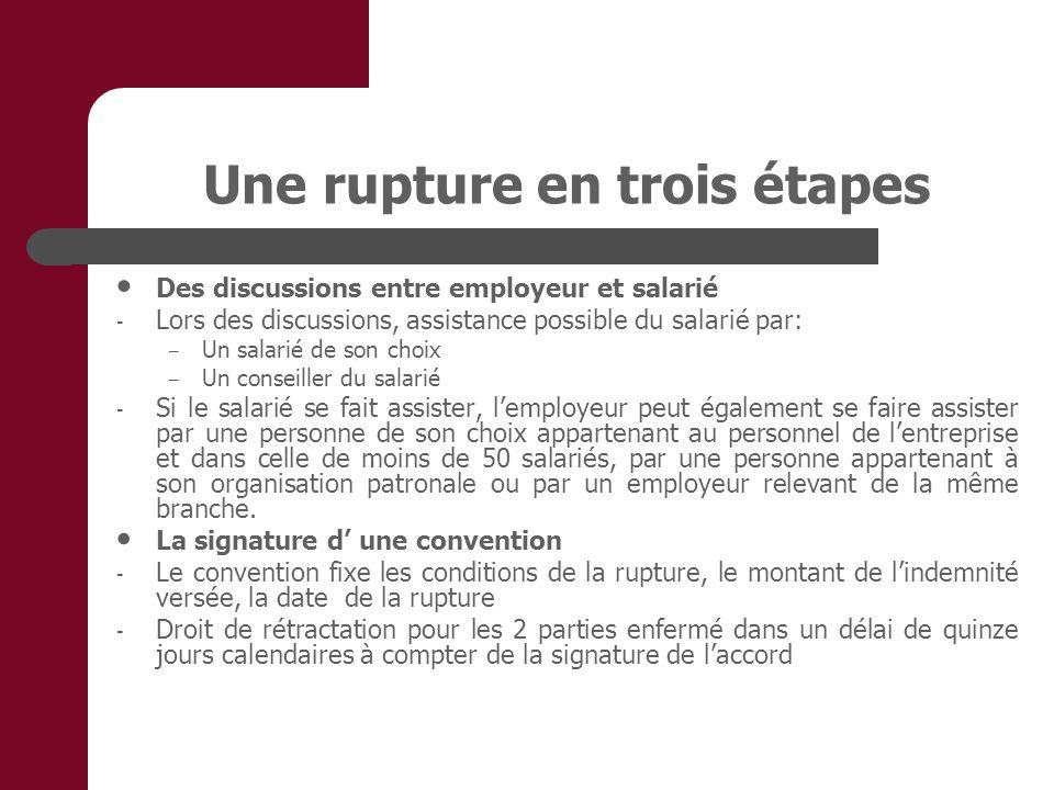 Une rupture en trois étapes Des discussions entre employeur et salarié - Lors des discussions, assistance possible du salarié par: – Un salarié de son