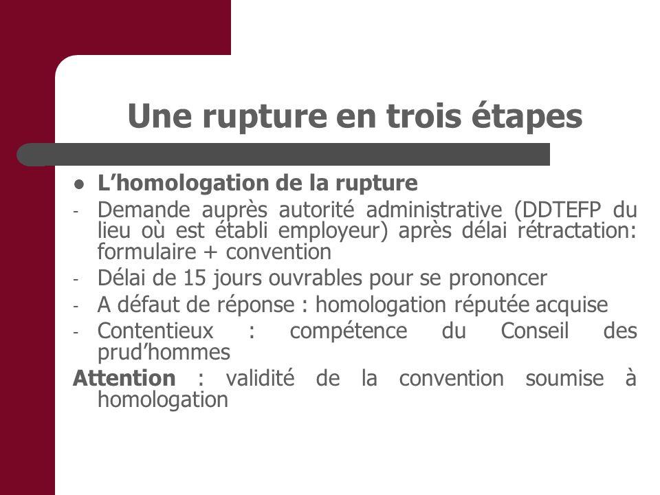 Une rupture en trois étapes Lhomologation de la rupture - Demande auprès autorité administrative (DDTEFP du lieu où est établi employeur) après délai