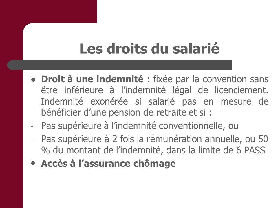Les droits du salarié Droit à une indemnité : fixée par la convention sans être inférieure à lindemnité légal de licenciement. Indemnité exonérée si s