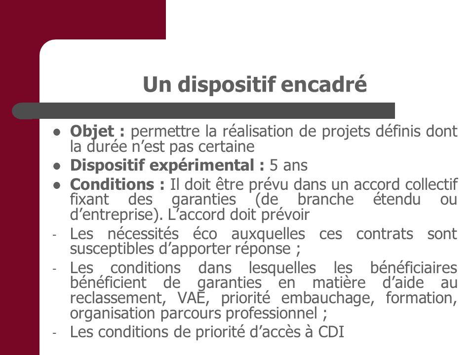 Un dispositif encadré Objet : permettre la réalisation de projets définis dont la durée nest pas certaine Dispositif expérimental : 5 ans Conditions :