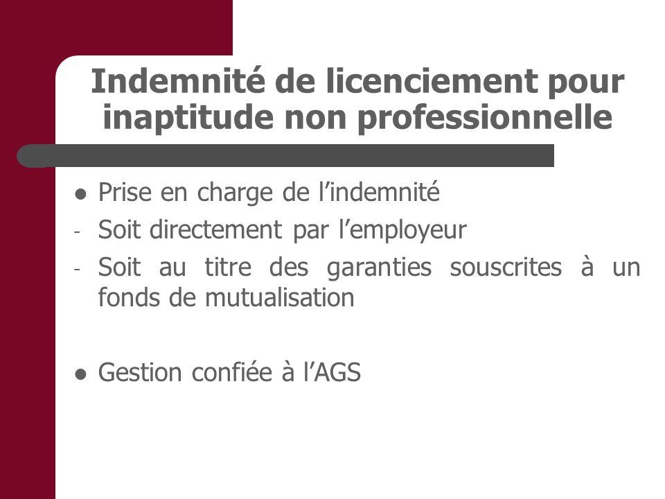 Indemnité de licenciement pour inaptitude non professionnelle Prise en charge de lindemnité - Soit directement par lemployeur - Soit au titre des garanties souscrites à un fonds de mutualisation Gestion confiée à lAGS