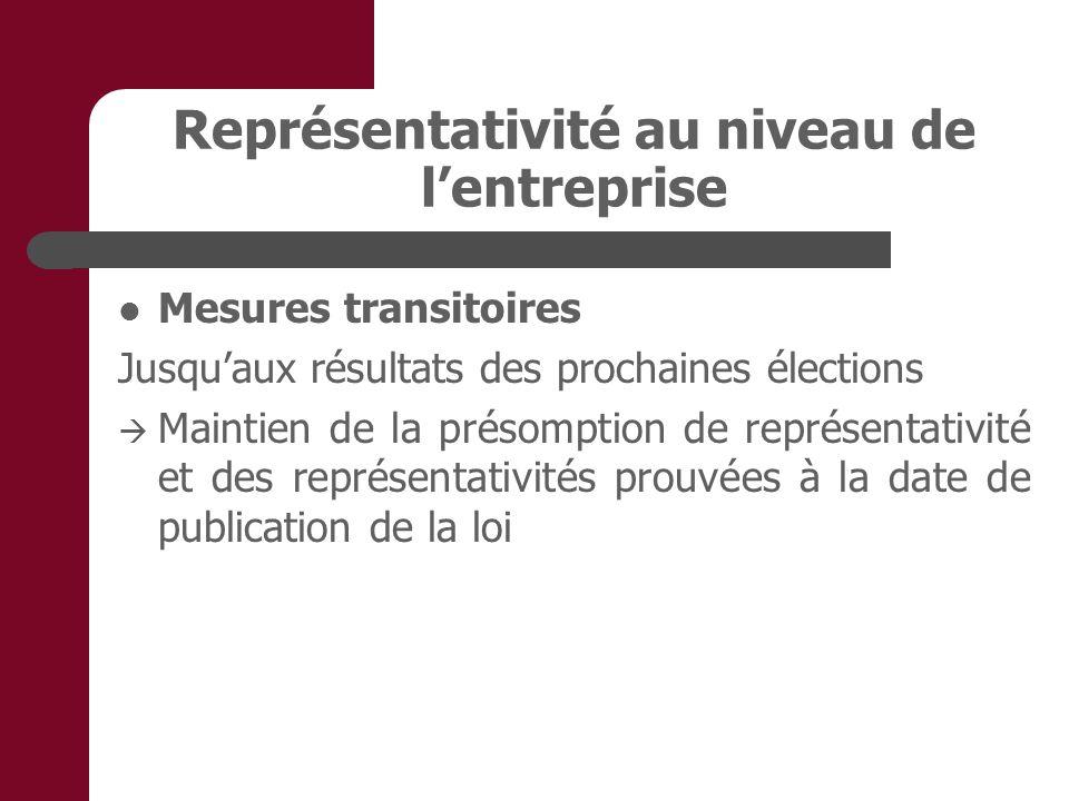 Représentativité au niveau de lentreprise Mesures transitoires Jusquaux résultats des prochaines élections Maintien de la présomption de représentativité et des représentativités prouvées à la date de publication de la loi