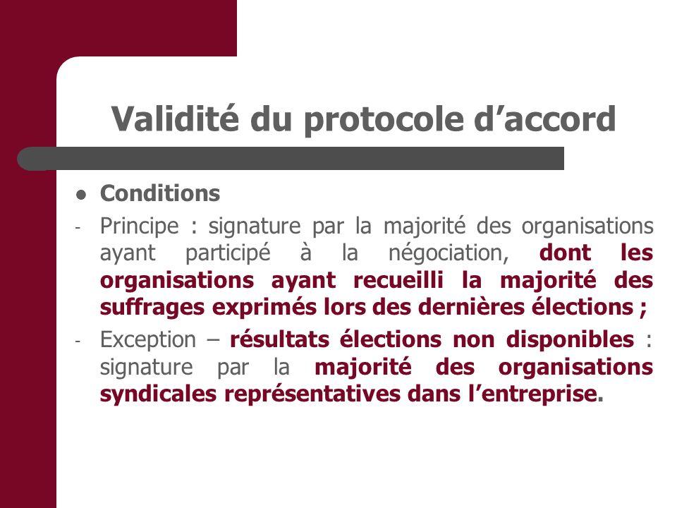Validité du protocole daccord Conditions - Principe : signature par la majorité des organisations ayant participé à la négociation, dont les organisat