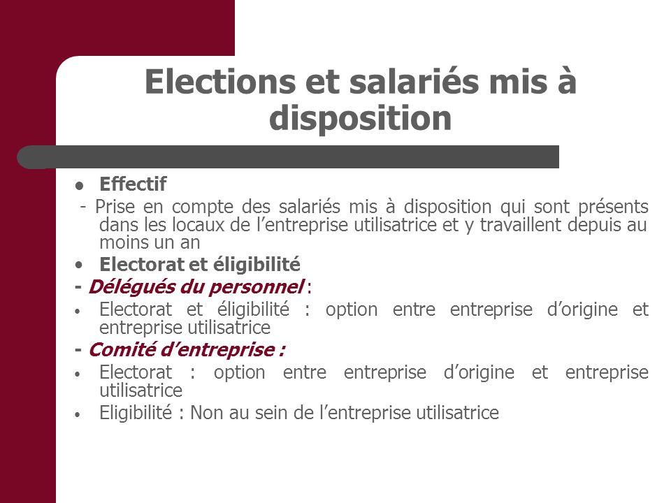Elections et salariés mis à disposition Effectif - Prise en compte des salariés mis à disposition qui sont présents dans les locaux de lentreprise uti