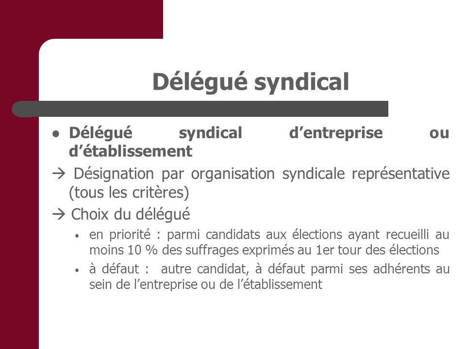 Délégué syndical Délégué syndical dentreprise ou détablissement Désignation par organisation syndicale représentative (tous les critères) Choix du dél