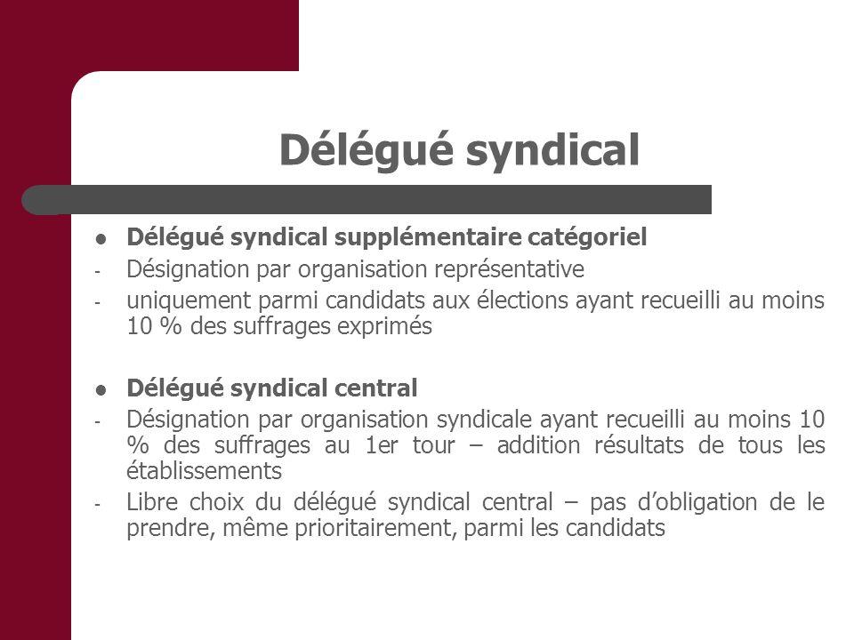 Délégué syndical Délégué syndical supplémentaire catégoriel - Désignation par organisation représentative - uniquement parmi candidats aux élections a