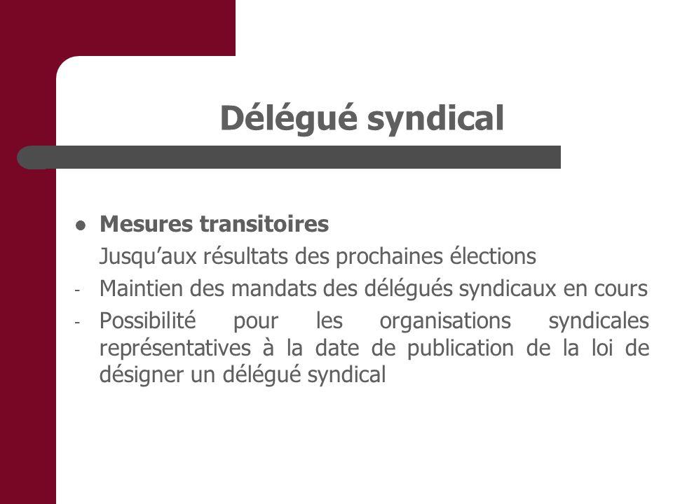 Délégué syndical Mesures transitoires Jusquaux résultats des prochaines élections - Maintien des mandats des délégués syndicaux en cours - Possibilité