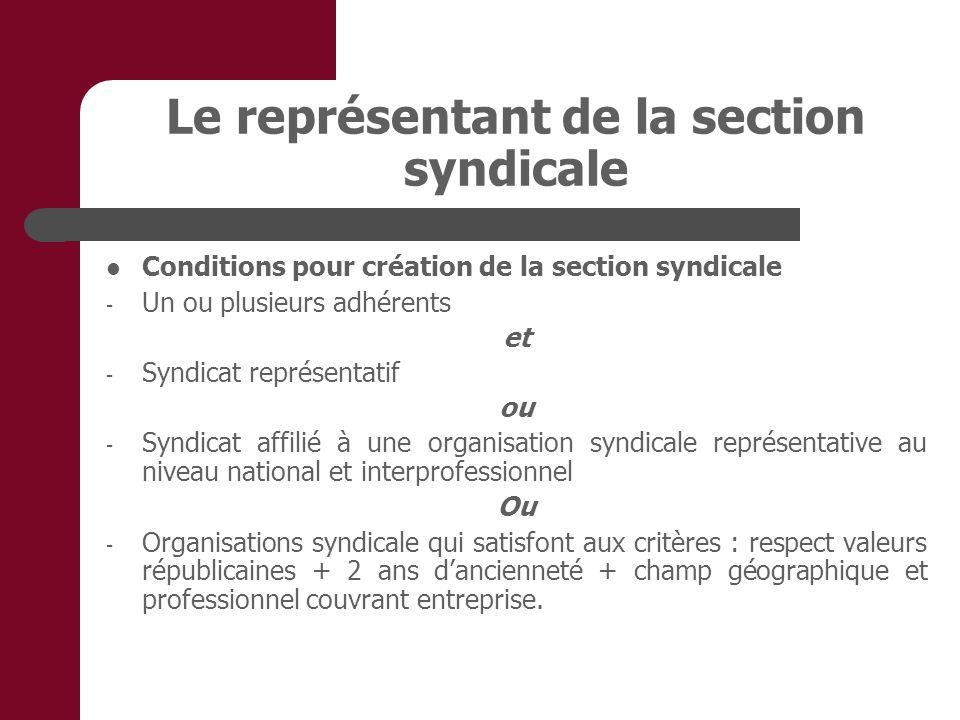 Le représentant de la section syndicale Conditions pour création de la section syndicale - Un ou plusieurs adhérents et - Syndicat représentatif ou -